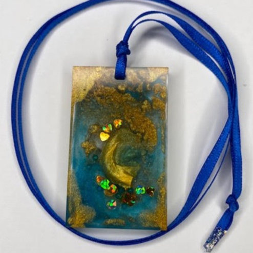 Resin Pendant: Blue & Gold Rectangle