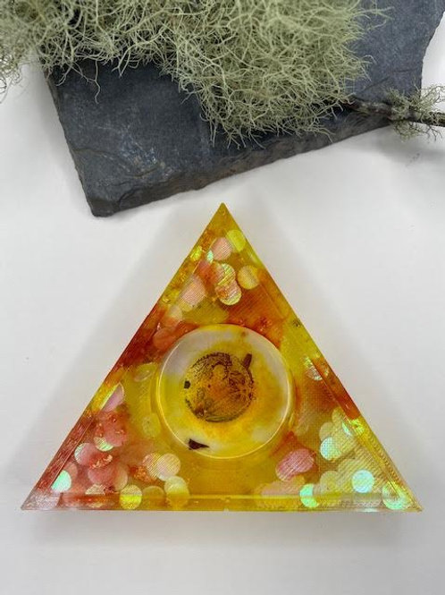 Resin Tealight Holder: Triangle with Moon Decal, Gold Leaf & Iridescent Disks
