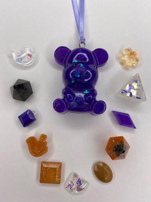 Resin Pendant: Kid's Pack - Purple Teddy+Lucky Dip Bag+Wish Bracelet (13pcs)