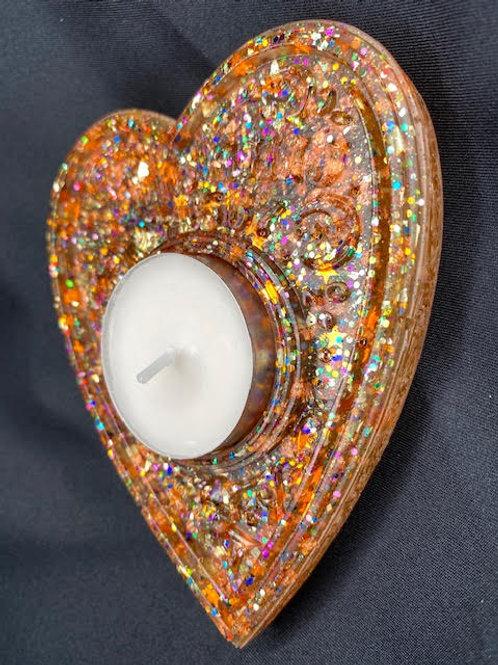 Resin Tealight Holder: Halloween Collection - Ouija - Jack-O'-Lantern Sparkle