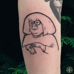 Ongo Gablogian tattoo handpoked line portrait alexandra godwin your place to space axel handfolk