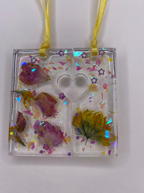 Resin Pendants: The Beloved Duo - Clear Holographic, Roses & Wildflowers