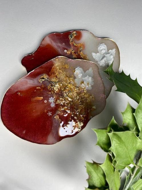 Resin Slices: Cherub, Ruby, Milk & Gold Leaf (2pcs)