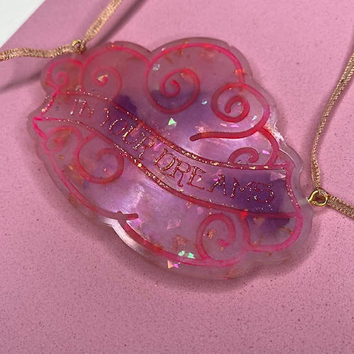 Resin Cloud: 'In Your Dreams' - Rose Gold Leaf &Hot Pink Sparkle