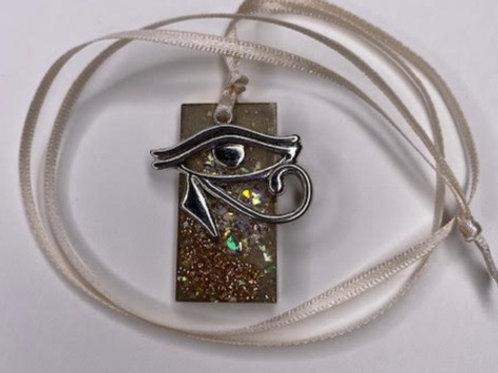 Resin Pendant: Double Decker Rectangle Angel Dust & Eye of Horus Charm