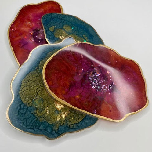Resin Slices: Two Way - Teal Gold Leaf & Gold, Raspberry Rose & Gold (4pcs)
