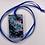 Thumbnail: Resin Pendant: Blue Glitter Flower Rectangle