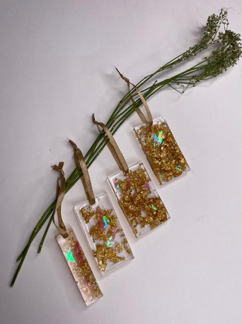 Gift Set: Christmas Collection - Gold Leaf Rectangular Tree Hangings (4pcs)