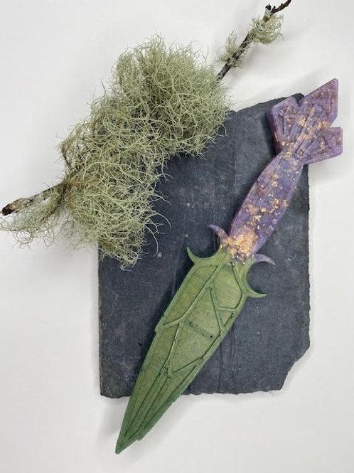 Resin Dagger: Moss Green, Rose Gold Leaf & Purple