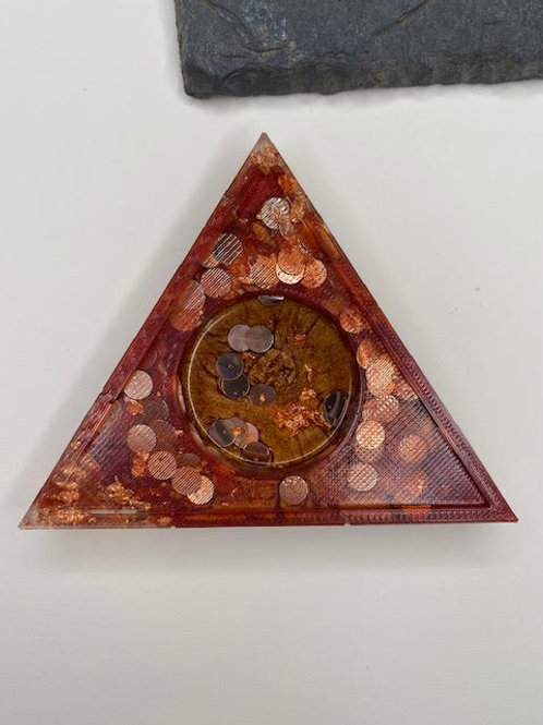 Resin Tealight Holder: Triangle - Rose Gold Disks, Ruby & Copper