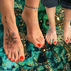 foot adornment tattoo handpoked your place to space alexandra godwin axel handfolk