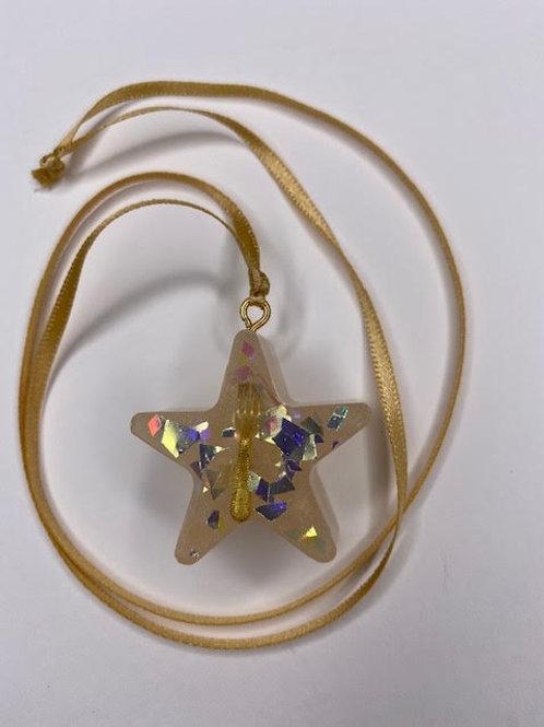 Resin Pendant: Star - Gold 'Fork You'