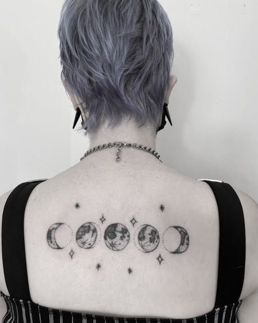 moon phases handpoked tattoo by alexandra godwin your place to space