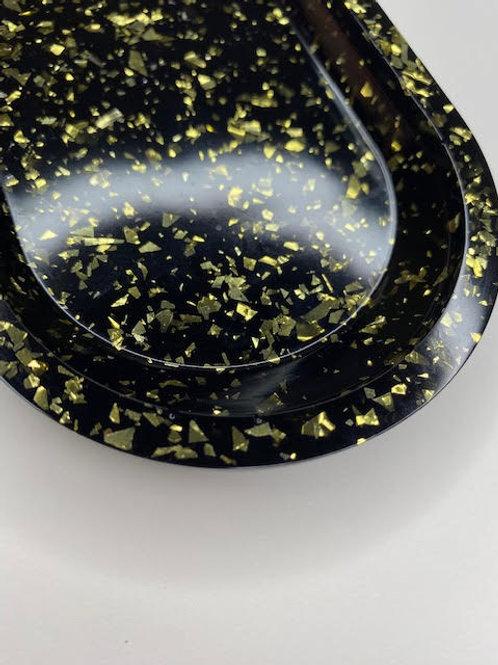 Resin Tray: Obsidian & Gold
