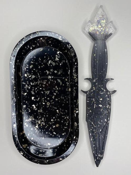Resin Tray & Altar Dagger - Obsidian, Gold & Holographic Shred