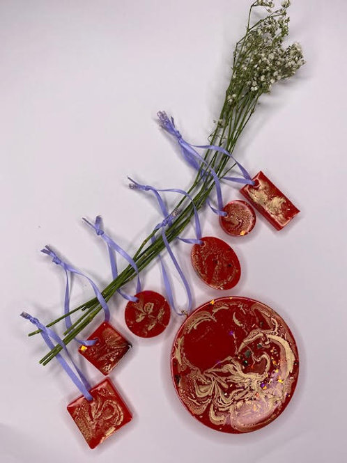 Gift Set: Christmas Collection - Fire Red & Gold Marbling Tree Hangings (7pcs)