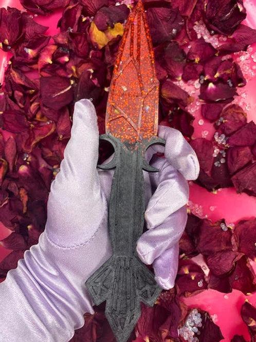 Resin Dagger: Metallic Black & Ruby Red Glitter