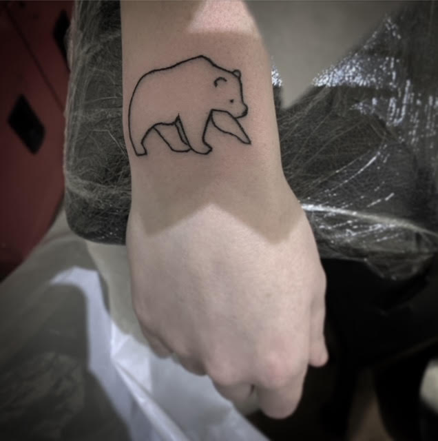 bear outline handpoked tattoo by alexandra godwin your place to space