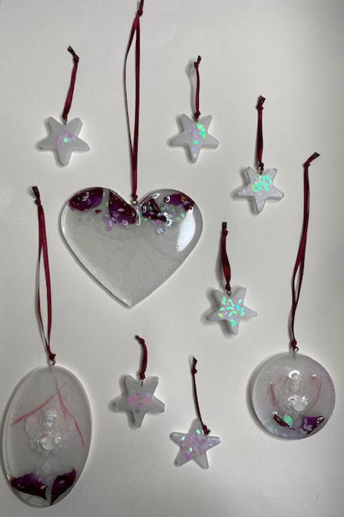 Resin Charms: Christmas Collection - Lilac & Rose Petal Cherub Set (9pcs)
