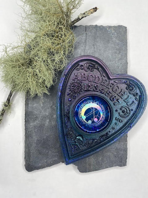 Resin Tealight Holder: Holographic Rune Moon - Night Sky Blue & Plum