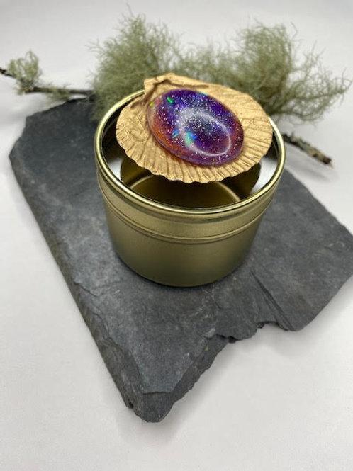 Gem Tin: Large Golden Shell - Iridescent Galaxy Resin Opal & Oil Slick Beading
