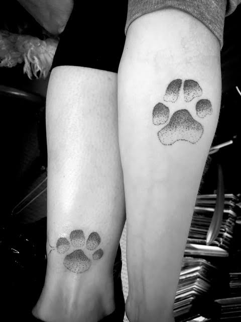 paw print stippled tattoos Your Place To Space tattoo work by Alexandra Godwin