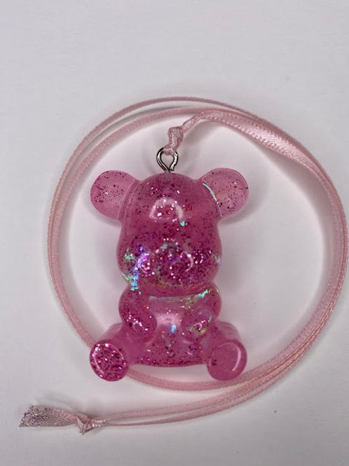 Resin Pendant: Teddy - Holographic Blush Pink