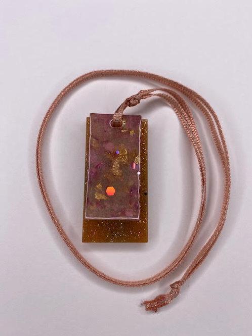 Resin Pendant: Double Decker Rectangles - Mustard Gold & Rose Gold