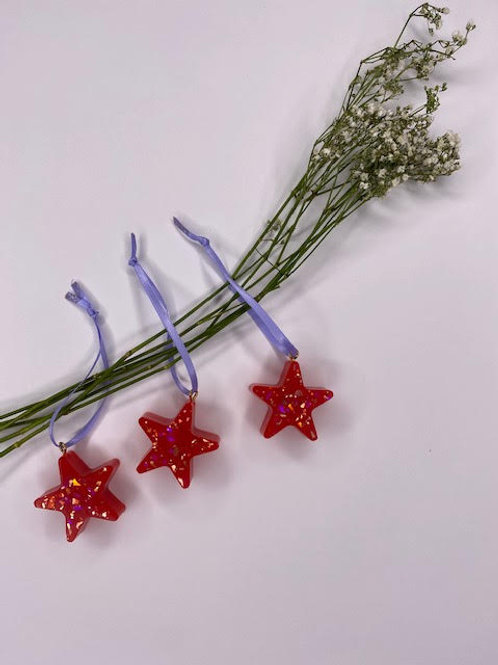 Gift Set: Christmas Collection - Red & Marbled Gold Star Tree Hangings (3pcs)
