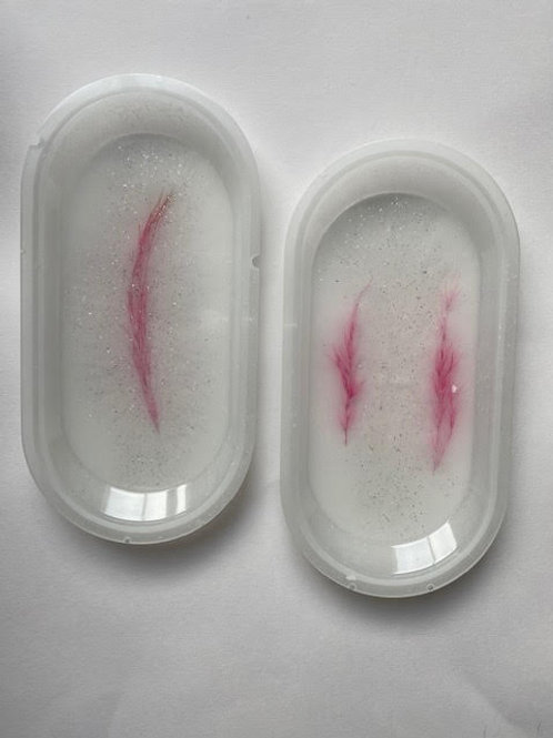 Resin Trays: Milky Flamingo Sparkle (2pcs)