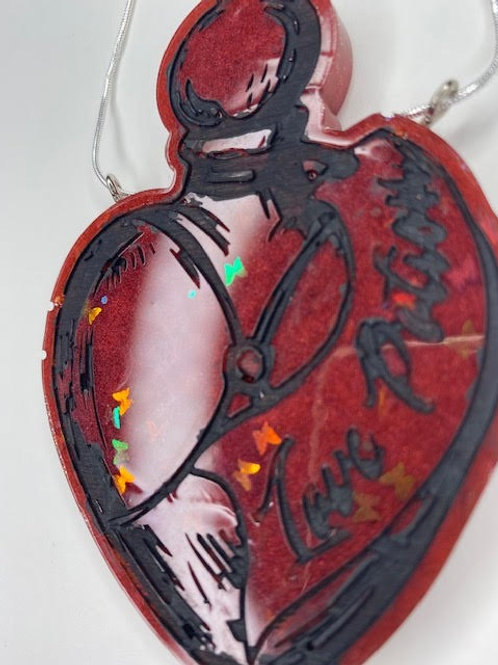 Resin Pendant: Love Potion - Ruby Cherry & Holohgraphic Butterflies