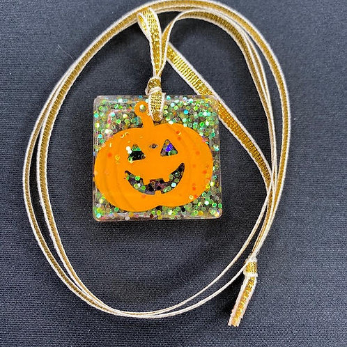Resin Pendant: Halloween Collection - Square Jack-O'-Lantern