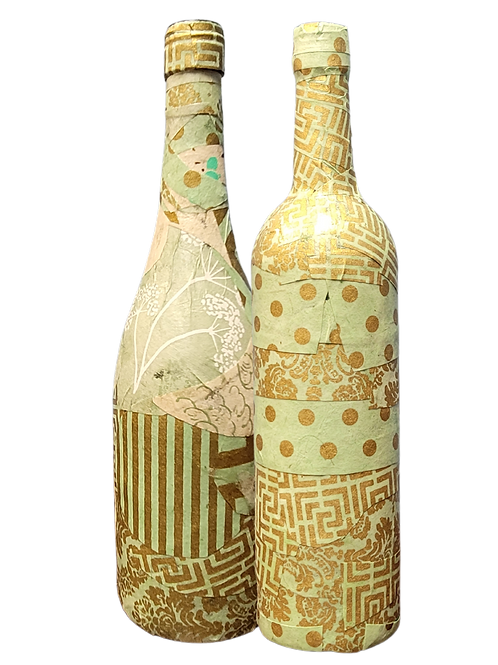 Hand Decorated Wine Bottle Vase (Shades of Green)