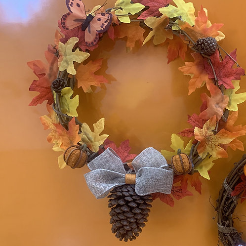 Autumn Wreath with Acorn and Silver Bow