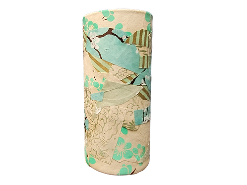 Hand Decorated Cylindrical Vase (Aqua and White)