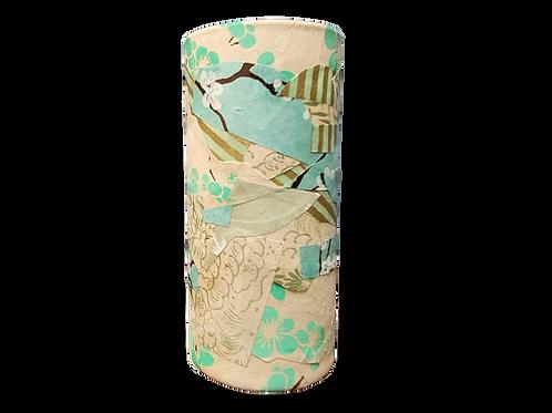 Hand Decorated Cylindrical Vase (Aqua and White)