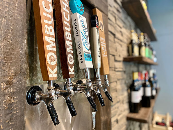 A line of local beer and local kombucha taps only at Simon's Coffee House.
