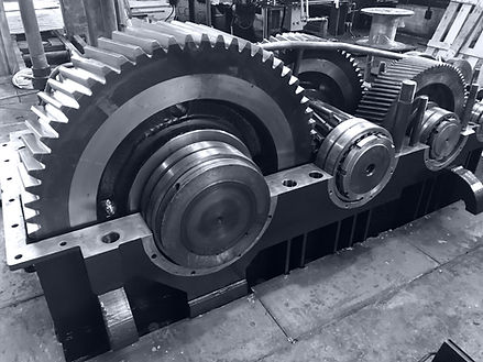 large gearbox open showing the gears the