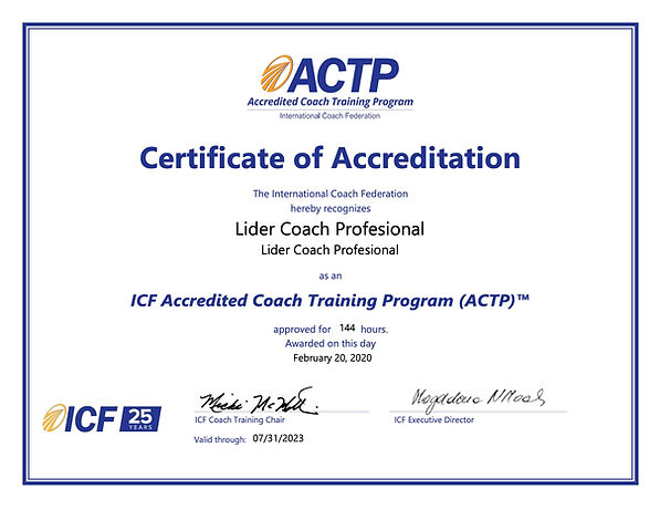 Lider Coach Profesional ACTP Certificate