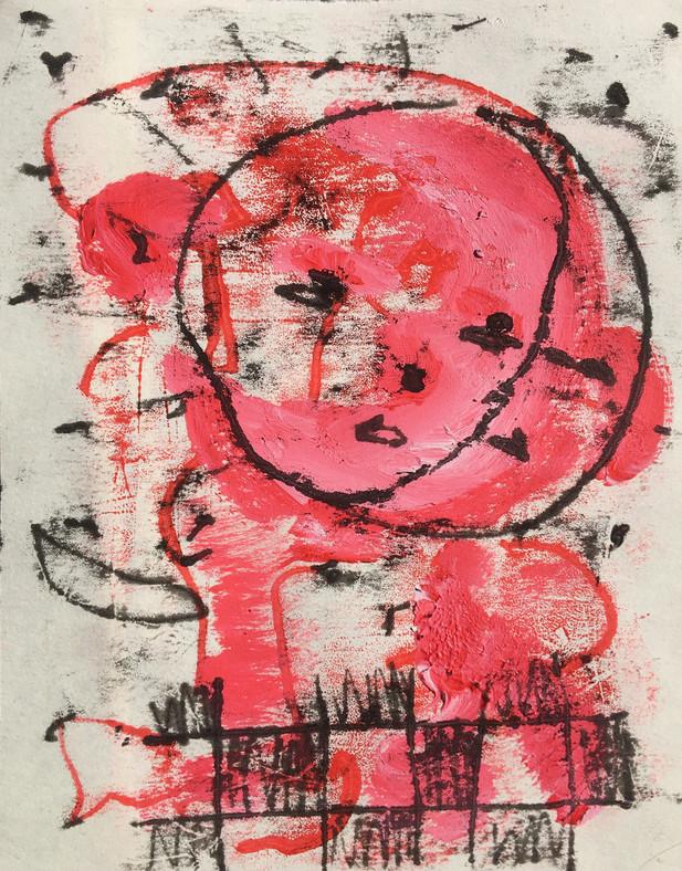 A Heartfelt Embrace Between Two Satellites, mono print on fine art paper, 12 x 16 cm