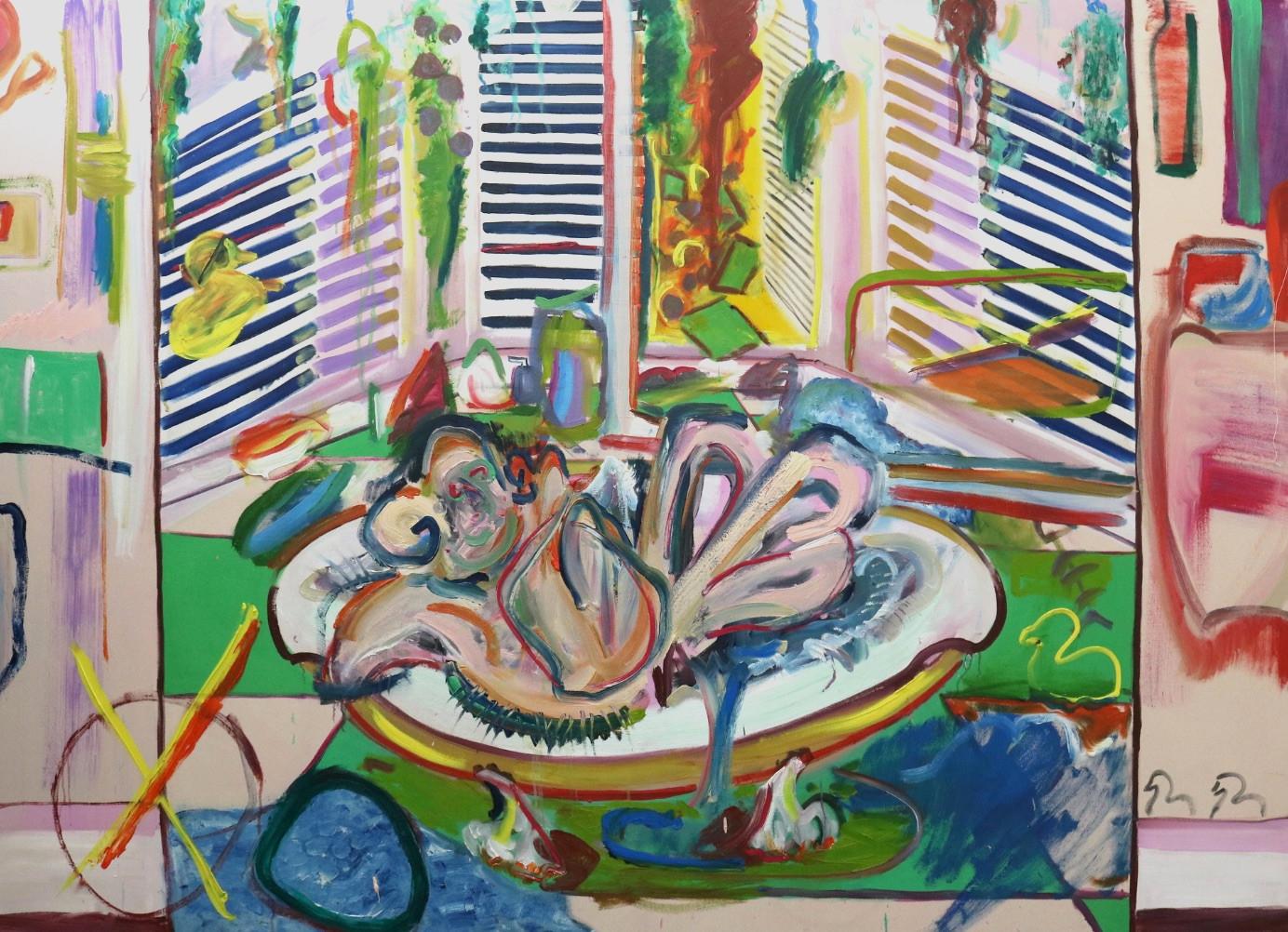 Duck Race, 2018, oil on canvas, 237 x 173 cm