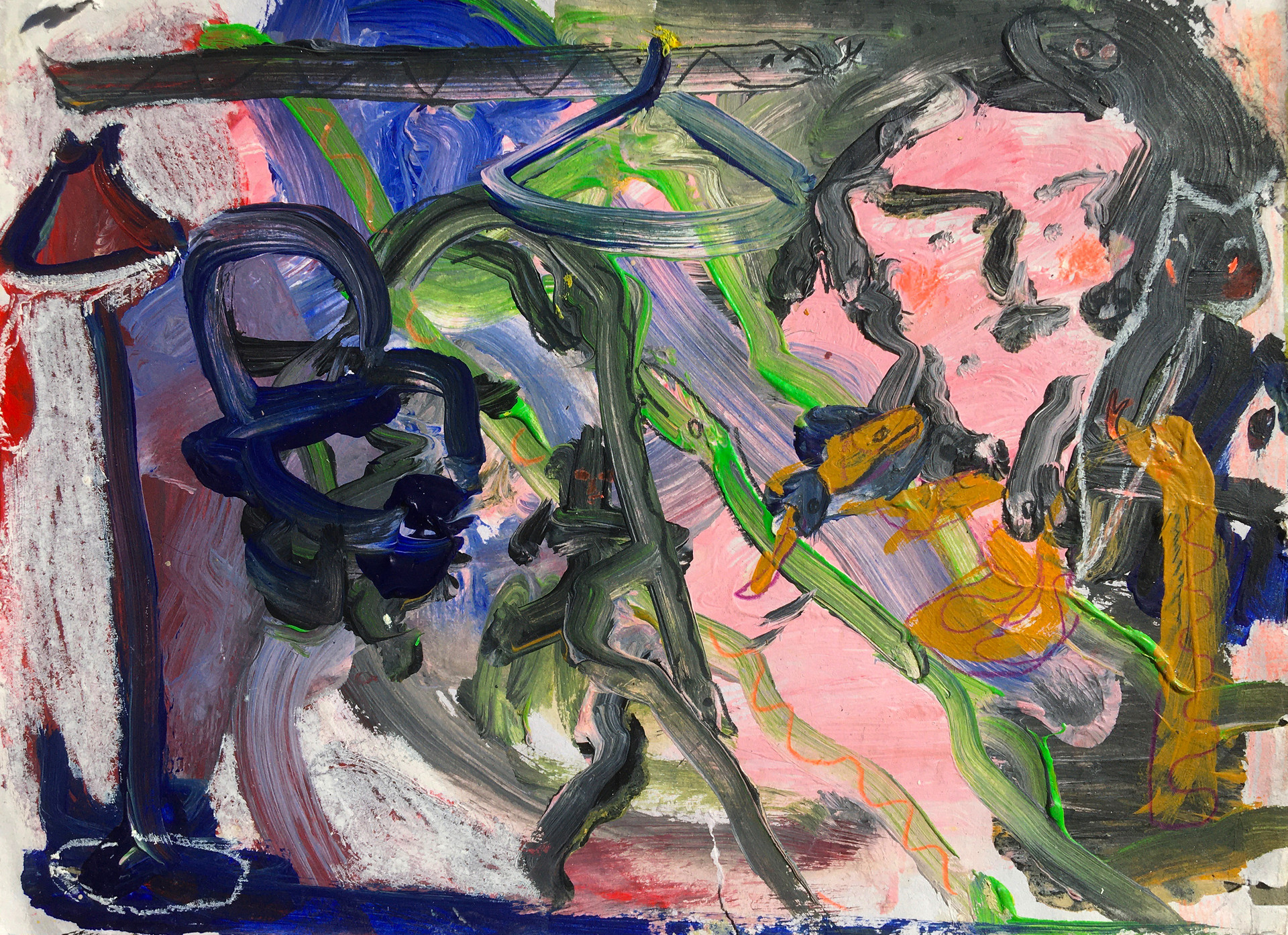 My Hair Hissed and Turned To Serpents, My Eyes Saw The World In Stone, 2020, oil on paper, 29 x 20.5 cm