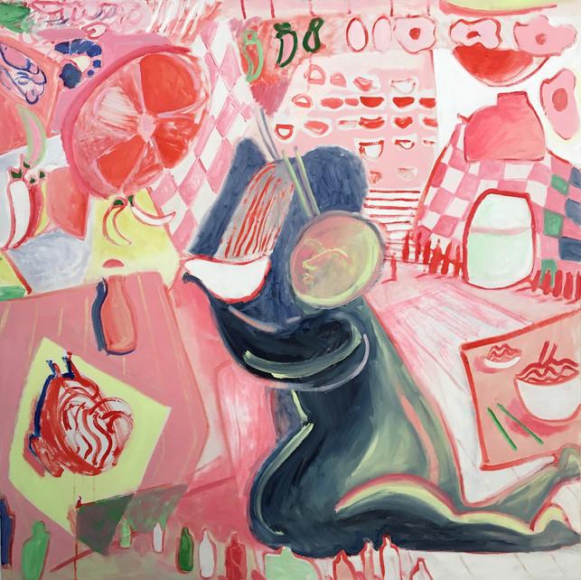Cold Noodle,  oil on canvas, 100 x 100 cm