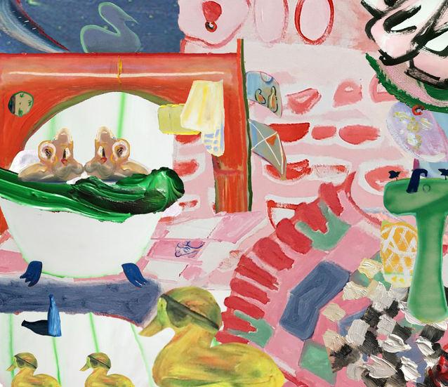 Chop and Shop Medley II, A Bathtub Scene, digital painting collage, 3155 x 2666 px