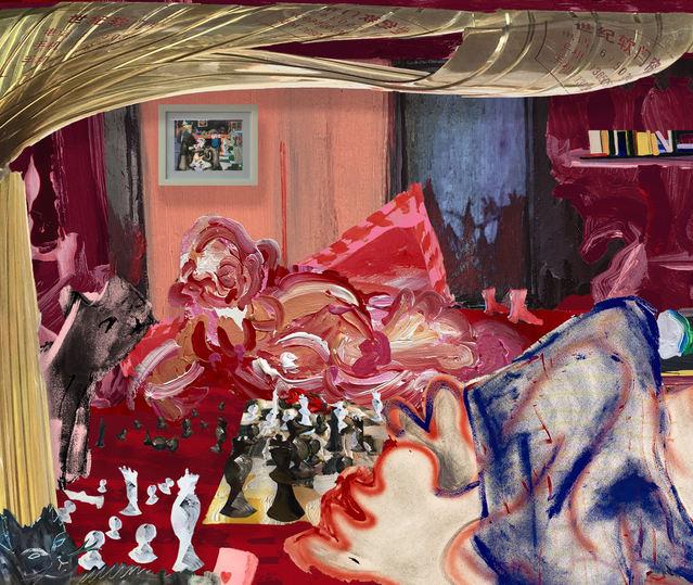 J'adoube (I Adjust), digital painting collage, 3155 x 2666 px