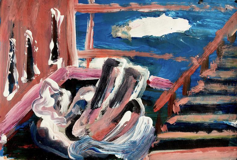 Dreaming; Clouds, Sheep, Sky, oil on fine art paper, 29.5 x 20 cm