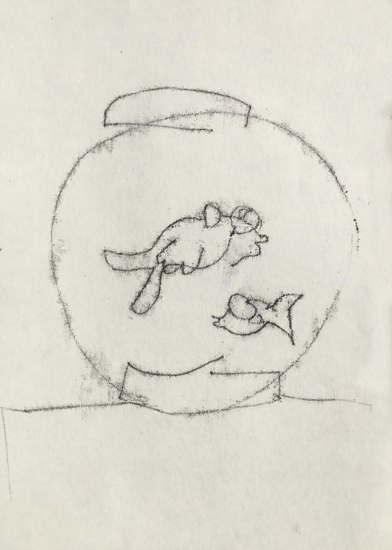 Fish, 2020, mono print on paper, 21 x 29.5 cm