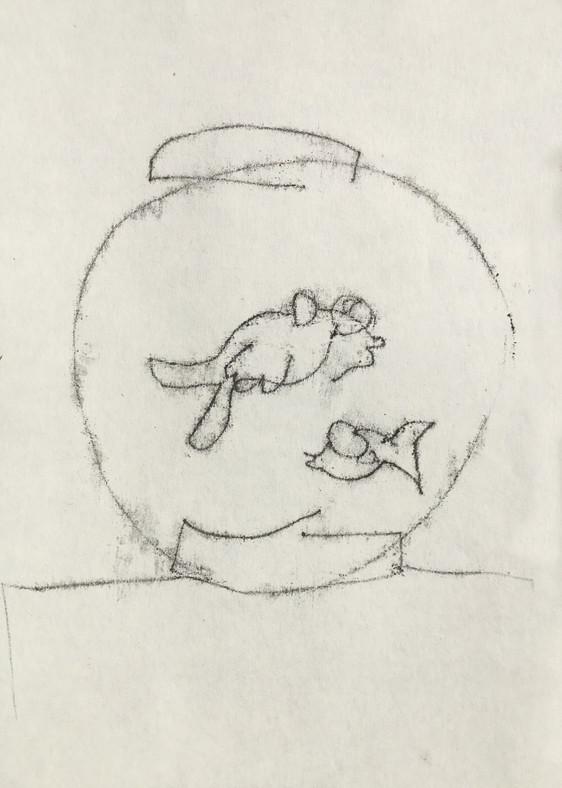 Fish, mono print on fine art paper, 21 x 29.5 cm