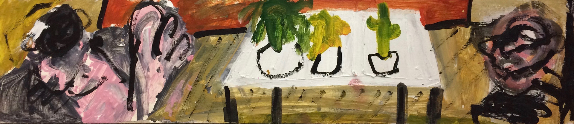 Planted On The Table, And On The Floor, 2017, oil om board 103 x 23 cm