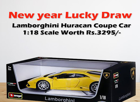 New Year Lucky Draw Lamborghini Hurricane Coupe Car 1:18 Scale Worth Rs.3295/-